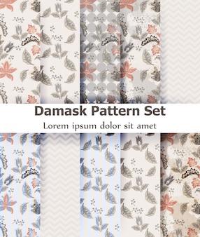 Vintage damast patroon ingesteld