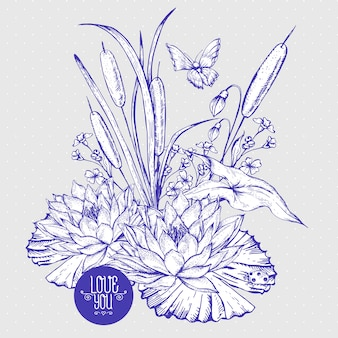 Vintage de groetkaart van vijver waterige bloemen