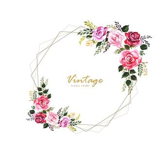 Vintage decoratief bloemenframe met huwelijkskaartontwerp