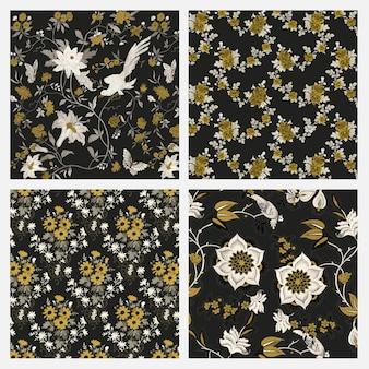 Vintage decoratieve botanische patroonset