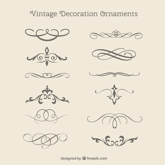 Vintage decoratieve ornamenten pakken