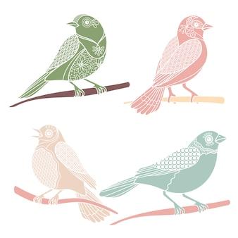 Vintage decoratieve vogels