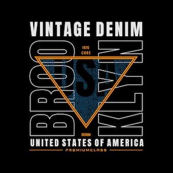 Vintage denim typografie voor t-shirt premium vector premium vector