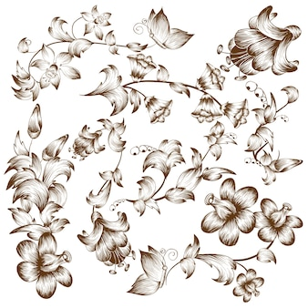 Vintage design bloem elementen