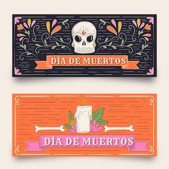 Vintage design dag van de dode banners