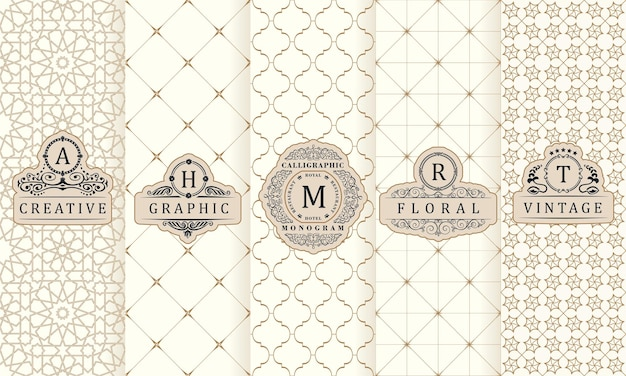 Vintage design elementen etiketten pictogram logo frame luxe verpakking product