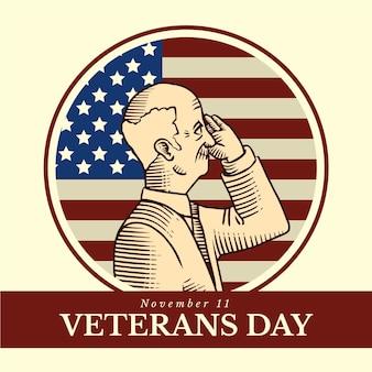 Vintage design veterans day-evenement