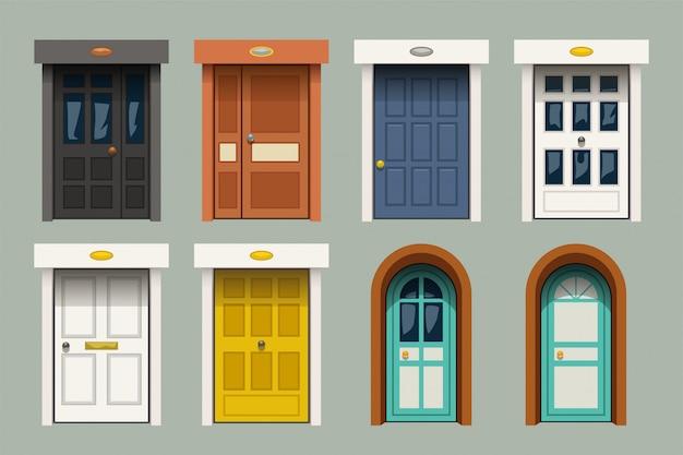 Vintage deuren ingesteld op groen