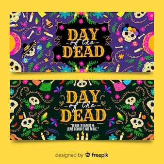 Vintage dia de muertos banners
