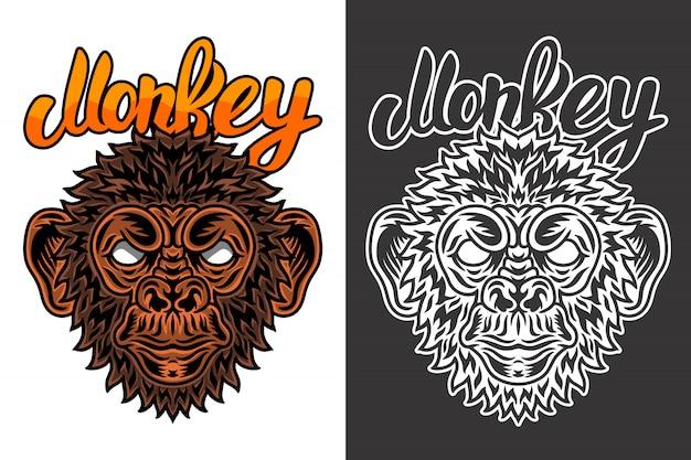 Vintage dier gezicht aap illustratie