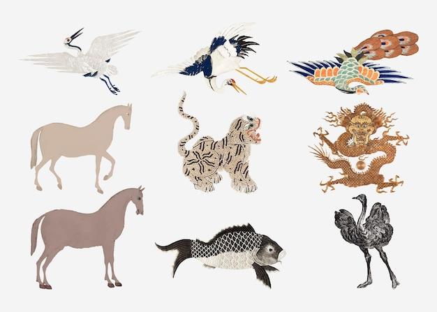 Vintage dierenborduurwerk en illustratieset