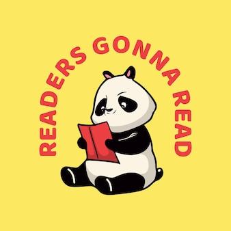 Vintage dierenslogan typografielezers gaan lezen voor t-shirtontwerp