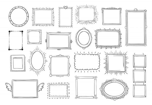 Vintage doodle schets fotolijsten