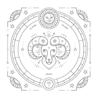 Vintage dunne aries sterrenbeeld lijnlabel. retro astrologisch symbool, mystic, heilige geometrie-element, embleem, logo. beroerte overzicht illustratie. op een witte achtergrond.