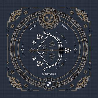 Vintage dunne boogschutter dierenriemteken label. retro astrologisch symbool, mystic, heilige geometrie-element, embleem, logo. beroerte overzicht illustratie.
