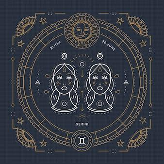 Vintage dunne lijn gemini sterrenbeeld label. retro astrologisch symbool, mystic, heilige geometrie-element, embleem, logo. beroerte overzicht illustratie.