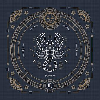 Vintage dunne lijn schorpioen sterrenbeeld label. retro astrologisch symbool, mystic, heilige geometrie-element, embleem, logo. beroerte overzicht illustratie.