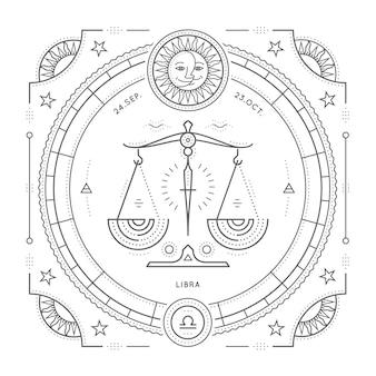 Vintage dunne lijn weegschaal sterrenbeeld label. retro astrologisch symbool, mystic, heilige geometrie-element, embleem, logo. beroerte overzicht illustratie. op een witte achtergrond.