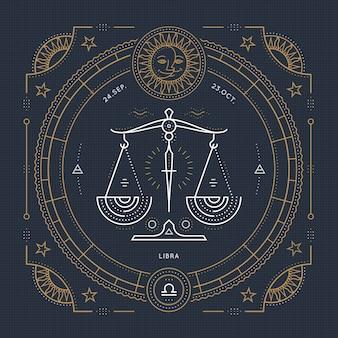 Vintage dunne lijn weegschaal sterrenbeeld label. retro astrologisch symbool, mystic, heilige geometrie-element, embleem, logo. beroerte overzicht illustratie.