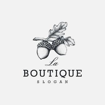 Vintage elegante eikel logo inspiratie