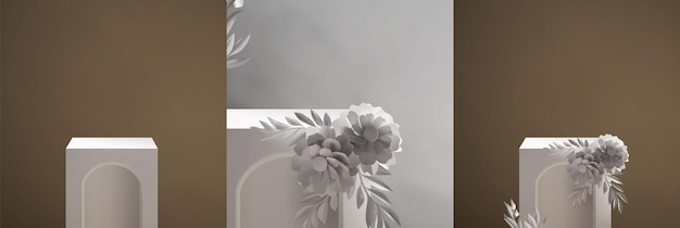 Vintage elegante realistische podiumscène sjabloon Premium Vector