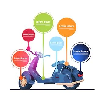 Vintage elektrische scooter sjabloon infographic elementen bromfiets banner