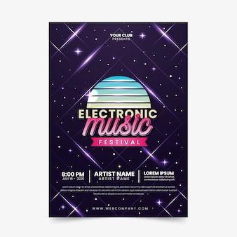 Vintage elektronische muziek poster sjabloon