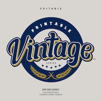 Vintage embleem honkbal serie teksteffect bewerkbare premium vector
