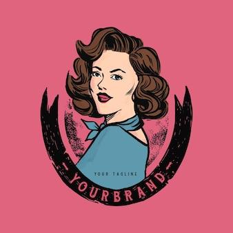 Vintage embleem vrouw logo voor kunst of restaurant bedrijf