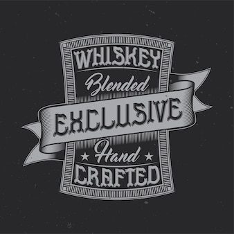Vintage embleemontwerp met kalligrafische compositie. whisky exclusief label