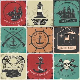 Vintage emblemen zeilen
