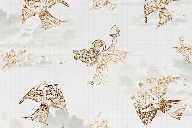 Vintage engel patroon vector achtergrond, engel spelen op bellen, geremixt van kunstwerken van sir edward coley burne & ndash; jones