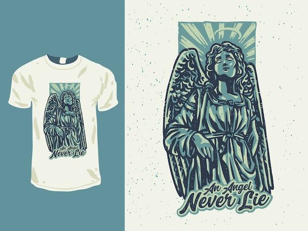 Vintage engel standbeeld met een tattoo-stijl illustratie