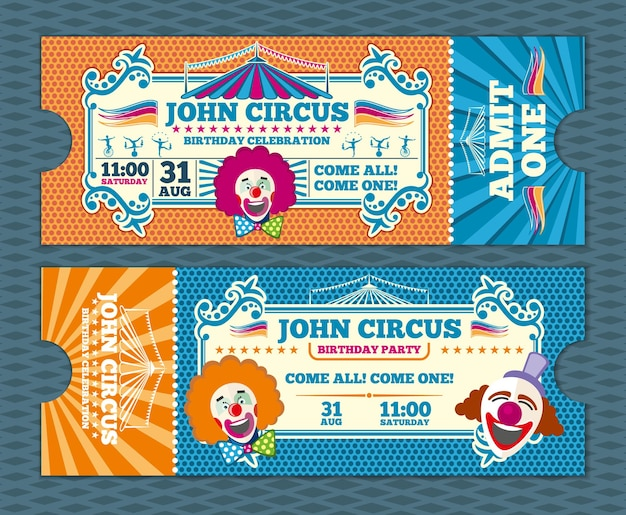 Vintage entree circus ticket vector sjabloon. circuscoupon, retro ticket circus, carnaval circus ticketvoorstelling, evenement circus ticket illustratie