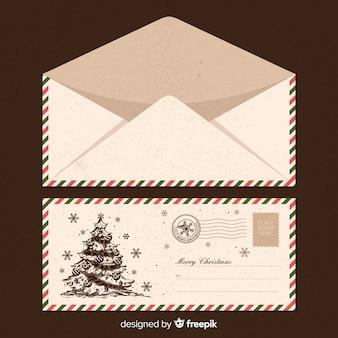 Vintage envelopmalplaatje van de kerstman