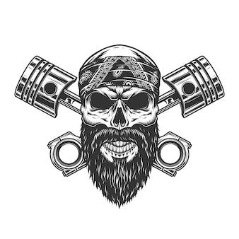 Vintage ernstige biker schedel in bandana