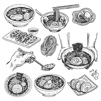 Vintage eten schets, hand getrokken japanse ramen menu,