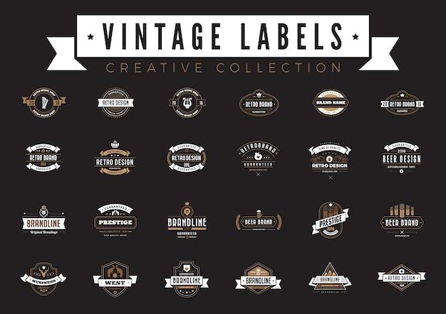 Vintage etiketten. koffie bier bakkerij verkoop badges retro stijl