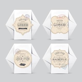 Vintage etiketten op witte papieren doos voor uw ontwerp