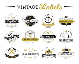 Vintage etiketten van hotelwinkels en café inclusief boekhandel kapper