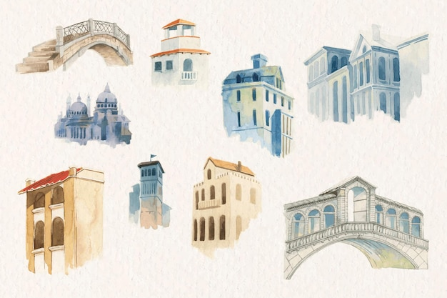 Vintage europese architectuur aquarel set