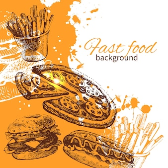 Vintage fastfood achtergrond. handgetekende illustratie