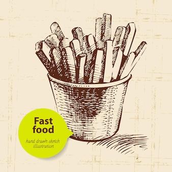 Vintage fastfood achtergrond met kleur zeepbel. handgetekende illustratie
