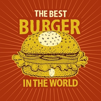 Vintage fastfood hamburger poster.