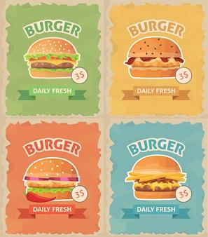 Vintage fastfood hamburgers set