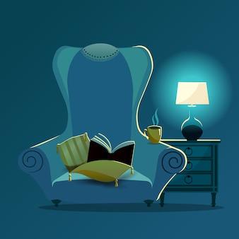 Vintage fauteuil met gele kussens met kwastjes en kanten servet op de rug van de stoel 's nachts in het licht van de bureaulamp.