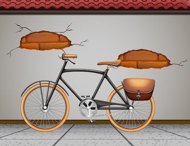 Vintage fiets geparkeerd aan de straat