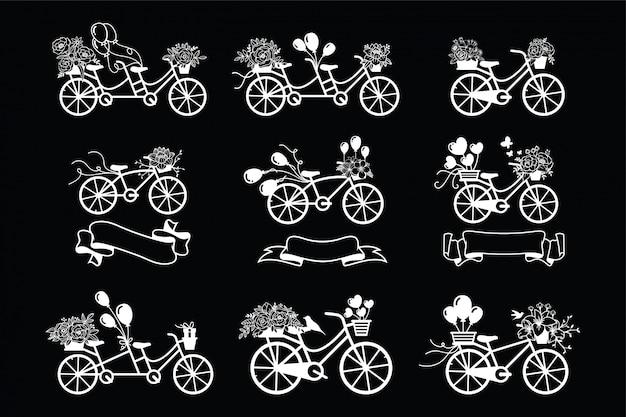 Vintage fiets met bloemencollectie