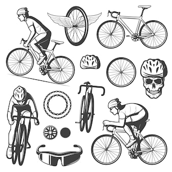 Vintage fietsen elementen collectie