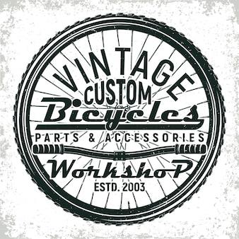 Vintage fietsen reparatie winkel logo